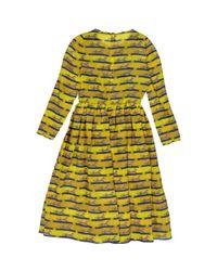 Mary Katrantzou Yellow Seide midi kleid