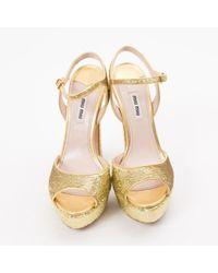 Miu Miu Metallic \n Gold Glitter Sandals