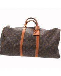 Louis Vuitton Brown Keepall Leinen 24 Std/ Tasche