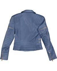 Blouson en cuir Balmain en coloris Blue