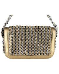 Chanel Metallic Handtasche Leder Golden