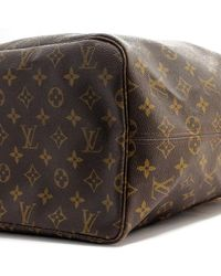 Louis Vuitton Brown Neverfull Leinen Shopper