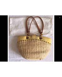 Miu Miu Yellow Wicker Handbag