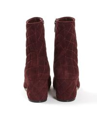 Gianvito Rossi Purple Burgundy Suede Ankle Boots