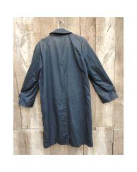 Burberry Blue Navy Cotton Coat for men