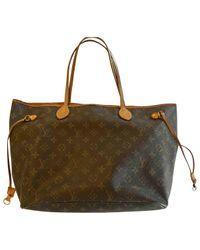 Tote bag Neverfull in Tela di Louis Vuitton in Brown