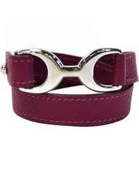 Hermès - Purple Pre-owned Leather Bracelet - Lyst
