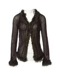 Jean Paul Gaultier Black Vintage Burgundy Silk Top
