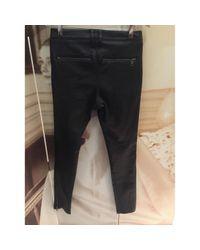 Pantalons en Cuir Noir Burberry en coloris Black