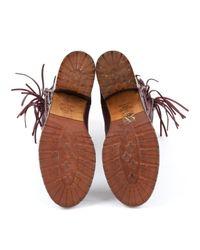 Botas en cuero burdeos Valentino de color Brown