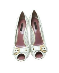 Escarpins en Cuir Blanc Louis Vuitton en coloris Multicolor