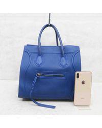 Bolsa de mano en cuero azul Luggage Phantom Céline de color Blue