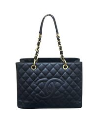 Chanel - Black Pre-owned Grand Shopping Leather Tote - Lyst