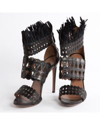 Alaïa Black Leather Sandals