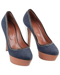 Sergio Rossi Blue Cloth Heels