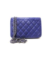 Chanel Blue Wallet on Chain Leder Clutches