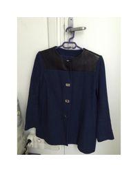 Sandro Blue Navy Cotton Coat