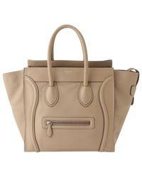 Borsa a mano in pelle beige Luggage di Céline in Natural