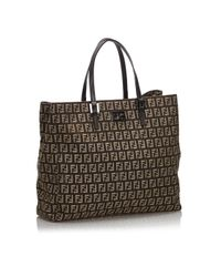 Fendi Brown Leinen Shopper