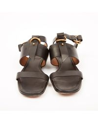 Chloé Black Leder Sandalen