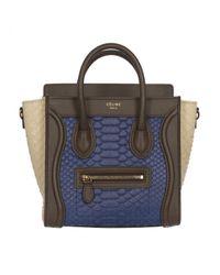 Céline Blue Luggage Python Handtaschen