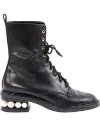 Nicholas Kirkwood Black Leder Stiefel