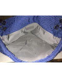 Chanel Timeless/classique Blue Cotton Handbag