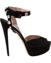 Miu Miu \n Black Suede Sandals