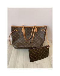 Louis Vuitton Brown Neverfull Leinen Handtaschen