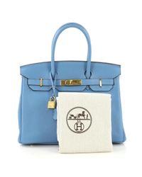 Hermès Blue Birkin 30 Leder Handtaschen