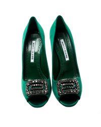 Escarpins en Cuir Vert Manolo Blahnik en coloris Green