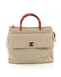 Chanel Multicolor Leinen Shopper