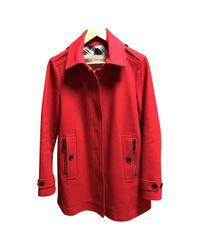 Caban en laine Burberry en coloris Red