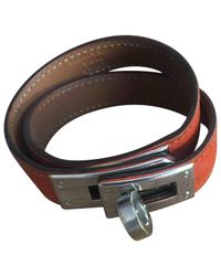 Hermès - Orange Kelly Double Tour Leder Armbänder for Men - Lyst