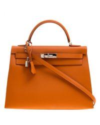Hermès Orange Kelly 32 Leder Shopper