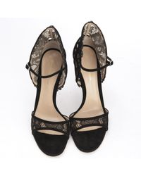 Gianvito Rossi - Black Floral Lace Sandals - Lyst