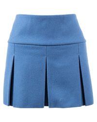 Miu Miu Blue Wool Skirt