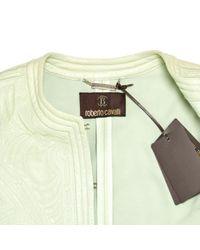 Roberto Cavalli Green Leather Leather Jacket