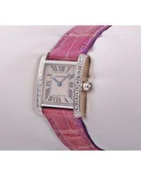 Cartier White Tank Française Weißgold Uhren