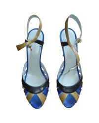 Sergio Rossi Blue Leather Sandals