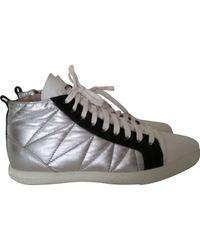 Miu Miu Metallic \n Silver Leather Trainers