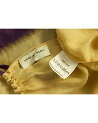 Dries Van Noten \\n Yellow Silk Top