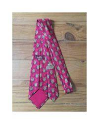 Corbatas en seda rojo Hermès de hombre de color Red