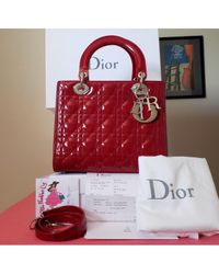 Dior Red Lady Leder Handtaschen
