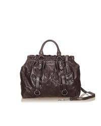 Miu Miu - Brown Vitello Leather Handbag - Lyst