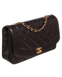 Borsa a mano in pelle nero Diana di Chanel in Black
