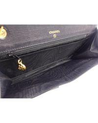Bolsa de mano en cuero negro Wallet on Chain Chanel de color Black