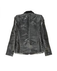Balmain Metallic Silver Cotton Jacket