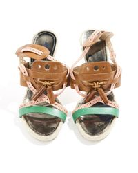 Proenza Schouler Metallic Multicolour Leather Sandals