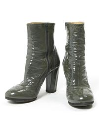 Miu Miu Gray \n Grey Patent Leather Ankle Boots